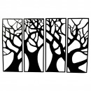 Set 4 decoratiuni metalice, de perete Krodesign 4 Panel Tree, Inaltime 76 cm, negru